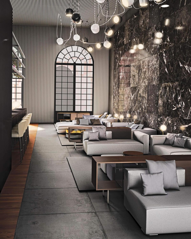 Relacionado con el espacio general a través de la repetición de materiales como el suelo porcelánico, la utilización de maderas para la decoración, todo integrado a través de una iluminación tenue y focalizada repitiendo el diseño de otros espacios.